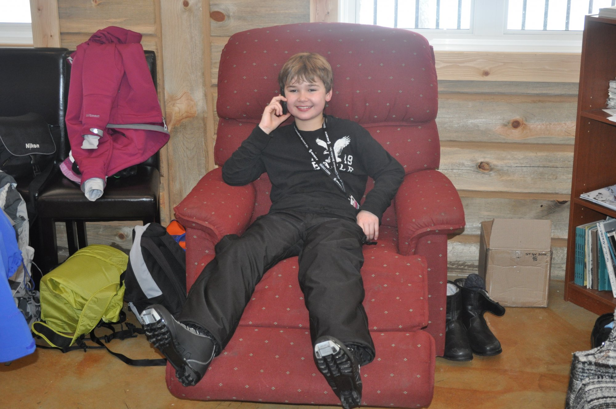 Lounging in the Dawn Mountain Lodge after an afternoon nordic skiing