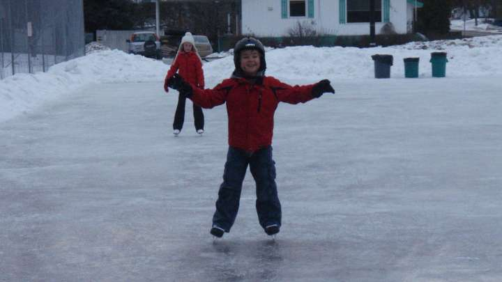 Outdoor ice skating is fun in Golden BC